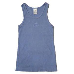 Adidas Vintage Baja Blue Womens Ribbed Tank Size S